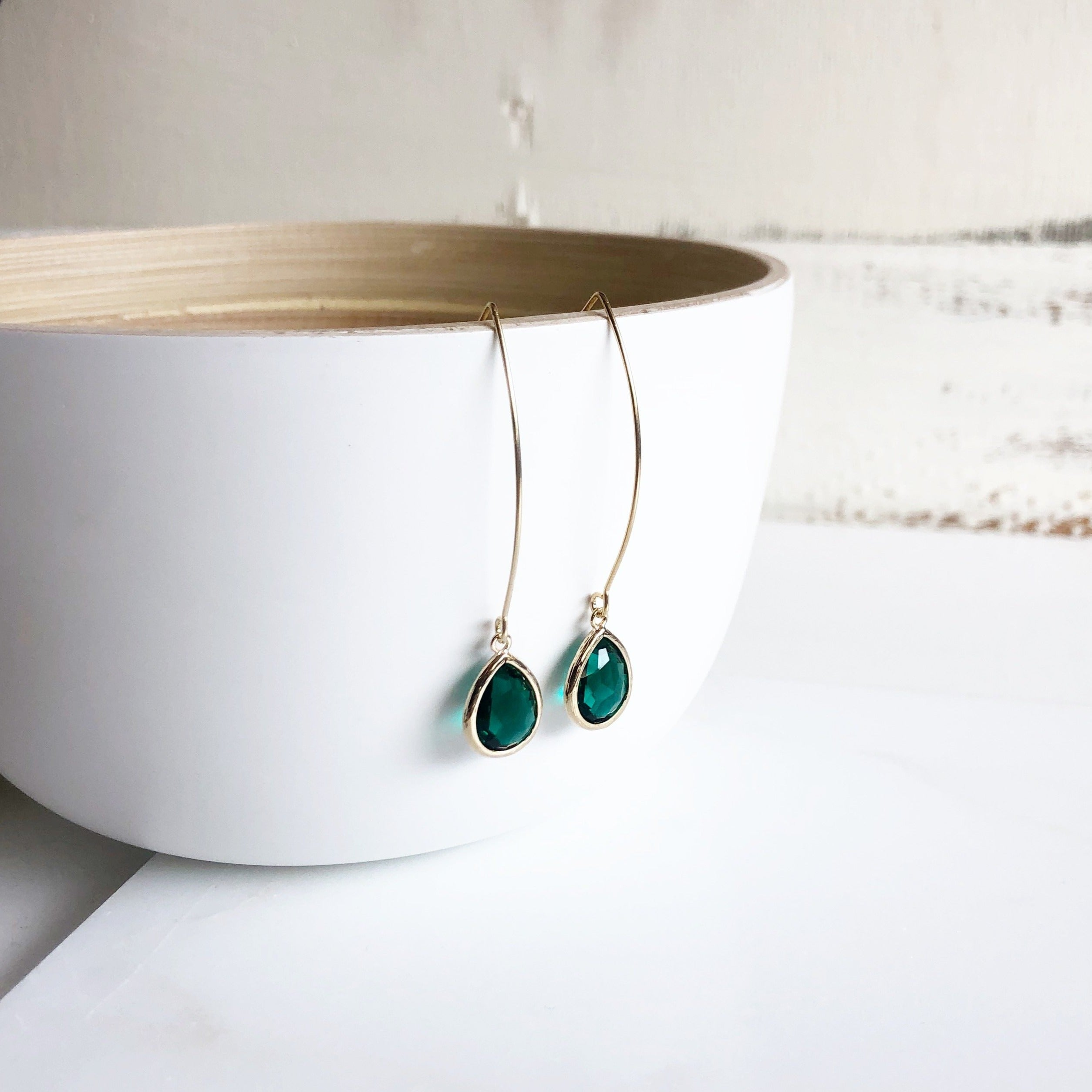 Emerald Green Dangle Earrings in Gold. Christmas Gift. Holiday Jewelry. Stocking Stuffers.