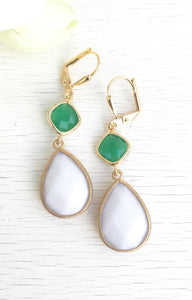 White and Green Dangle Earrings. Drop. Jewelry. Fashion Earrings. Green and White Earrings. Christmas Gift. Dangle. Drop. Holiday Gift.