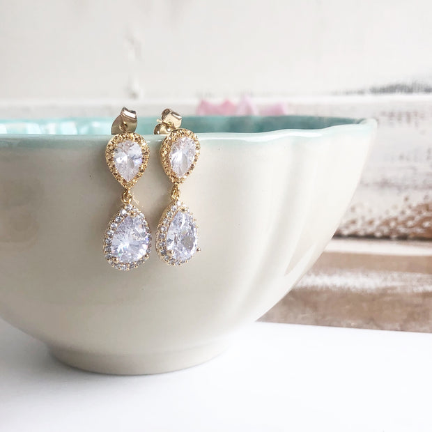 Gold Post Teardrop Bridal Earrings. Wedding Bridal Bridesmaid Earrings