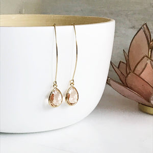 Gold Champagne Drop Earrings. Bridesmaid Gift. Drop Earrings. Wedding Jewelry. Simple Earrings Christmas Gift. Dangle Earrings. Jewelry Gift