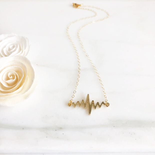 Gold Heartbeat Layering Necklace. Gold Bar Necklace. Gold Layering Necklace. Jewelry Gift.