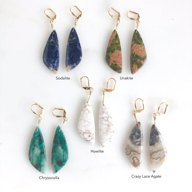 Unique Wing Shape Gemstone Earrings in Sodalite, Unakite, Chrysocolla, Howlite, and Crazy Lace Agate