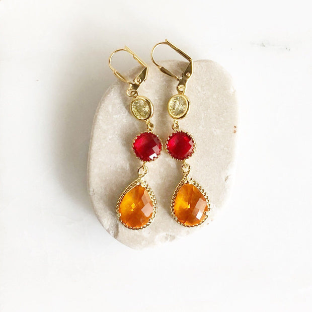 Long Dangle Earrings in Orange Red and Yellow. Orange Dangle Earrings. Colorful Long Statement Earrings