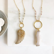 Load image into Gallery viewer, Long Boho Crystal Necklace in Gold. Druzy Raw Crystal Stone Circle Necklace with Gemstone Beaded Chain. Long Bohemian Necklace. Gift.