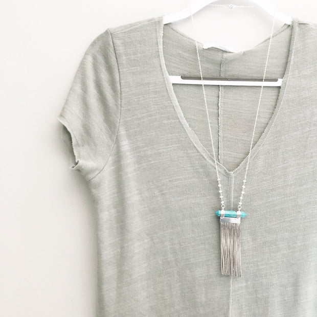 Long Silver Chain Tassel Necklace with Turquoise Stone and Beaded Chain