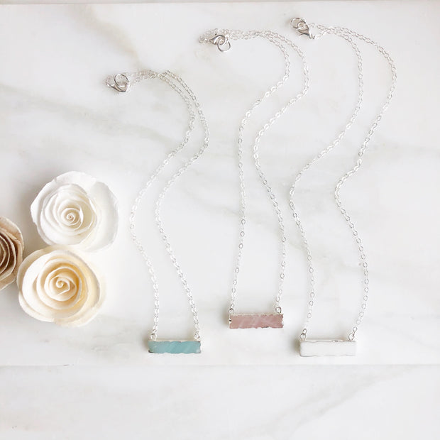 Scalloped Gemstone Bar Necklace in Sterling Silver. Amazonite Agate Rose Quartz Bar Necklace