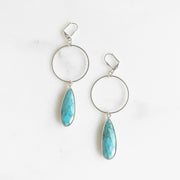 Turquoise Teardrop and Hoop Statement Earrings in Silver. Silver Hoop Earrings