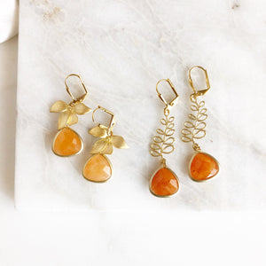 Sale - Orange and Gold Fashion Earrings. Gold Earrings. You Choose. Jewelry. Gift.
