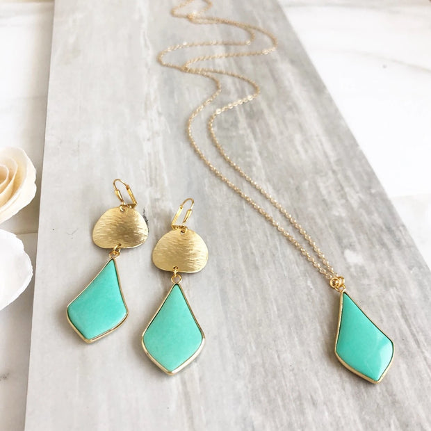 Aqua Kite Necklace and Earrings Set. Yellow Gold Aqua Statement Earrings and Necklace. Gift Set.