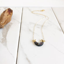 Load image into Gallery viewer, Charcoal Black Crescent Necklace in Gold. Black Moon Necklace. Layering Jewelry. Gift.