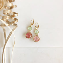 Load image into Gallery viewer, Grapefruit Pink and Mint Dangle Earrings in Gold. Glass Drop Earrings. Bridal Earrings.