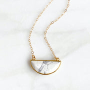 White Howlite Turquoise Half Moon Necklace. White Crescent Necklace. Gold Necklace
