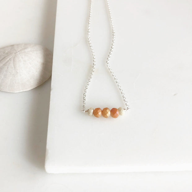 Orange Beaded Necklace. Silver Beaded Bar Necklace Delicate Necklace. Simple Layering Necklace.