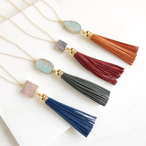 Tassel Necklace. Leather Tassel Necklace. Tassel Necklace. Long Gold Necklace. Boho Jewelry.