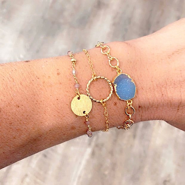 Blue Druzy Bracelet Set. Blue Crystal Coin Charm Pink Beaded Bracelet Stack