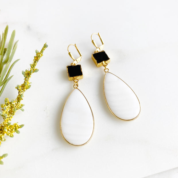 White Shell and Black Onyx Statement Earrings in Gold. Chic Statement Earrings
