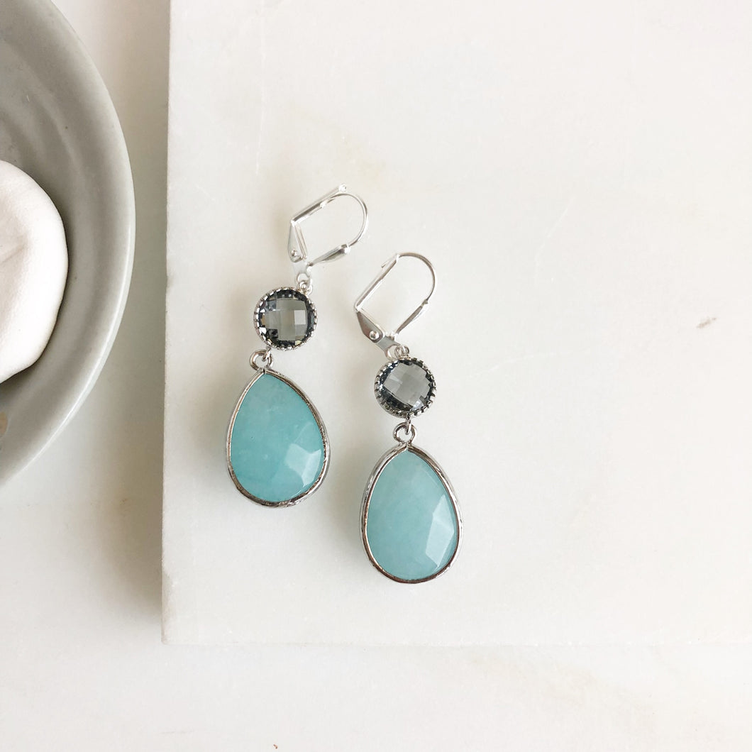 SALE Charcoal and Blue Glass Drop Earrings in Silver. Bridal Earrings. Bridesmaid Gift.