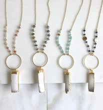 Load image into Gallery viewer, Long Boho Crystal Necklace in Aqua, Blue, Orange and Gold. Selenite Stone Healing Necklace. Healing Crystal Beaded Chain. Bohemian Necklace.