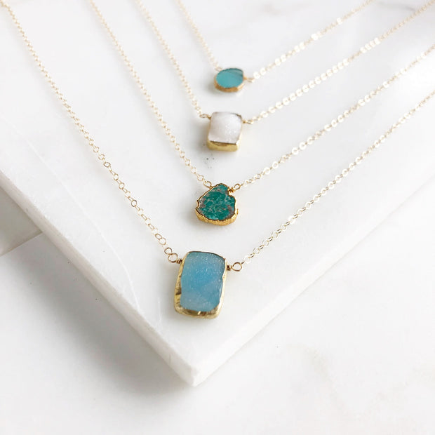 Simple Gemstone Necklaces in Gold. Dainty Necklace. Layering Necklace. Jewelry. Valentines Day Gift.
