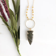 Load image into Gallery viewer, Long Gold Labradorite Arrow Necklace with Orange Accent Beading