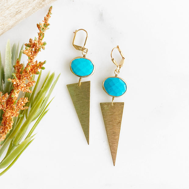 Turquoise Bezel Stone and Triangle Earrings. Edgy Gold Geometric Earrings