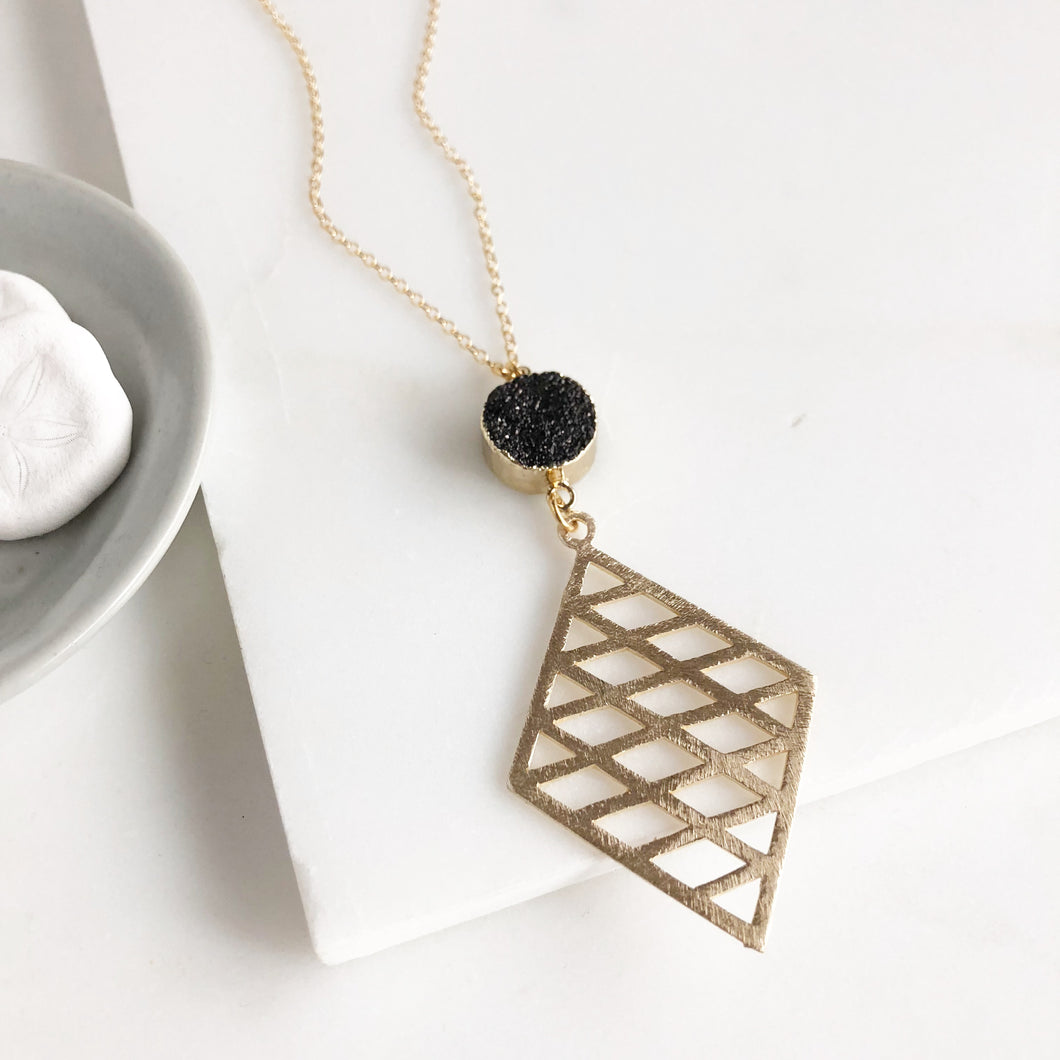 Long Black Druzy Necklace with Gold Diamond Pendant. Long Black Bohemian Necklace in Gold