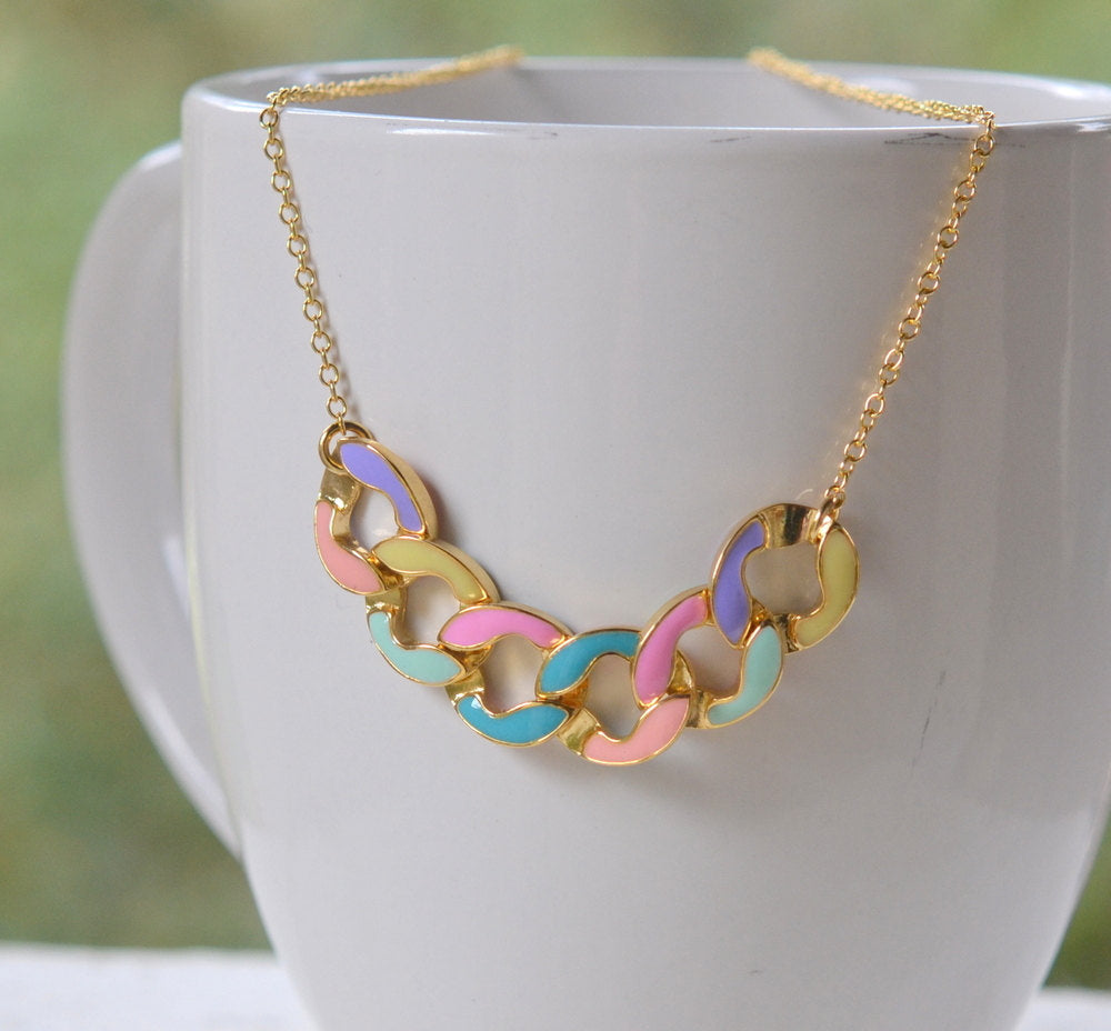 Modern Colorful Chain Statement Necklace in Gold. Statement Necklace. Modern Jewelry. Multi Color Jewelry.