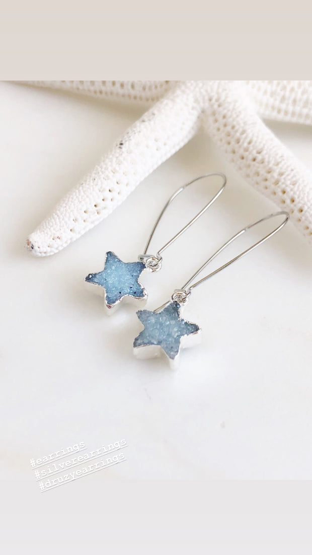 Druzy Star Earrings. Blue Druzy Star Earrings. Druzy Jewelry.. Silver Druzy Earrings