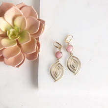 Load image into Gallery viewer, Pink Statement Earrings in Gold. Dangle Earrings.
