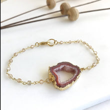 Load image into Gallery viewer, Chunky Druzy Bracelets in Gold. Colorful Druzy Bracelets. Raw Crystal Bracelet. Statement Jewelry. Holiday Jewelry. Gift for Her.