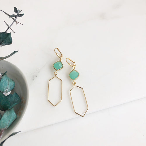 Gold Diamond and Aqua Dangle Earrings. Geometric Statement Earrings.