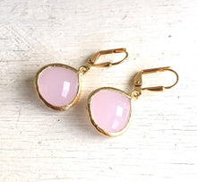 Load image into Gallery viewer, Simplicity Drop Earrings - Soft Pink Faceted Glass Teardrop in Gold. Simple Gold Earrings. Pink Fashion Earrings. Gift for Her.