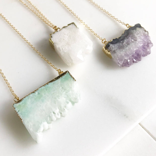 White Druzy Necklace. Geode Druzy Stone Necklace. White Stone Gold Necklace