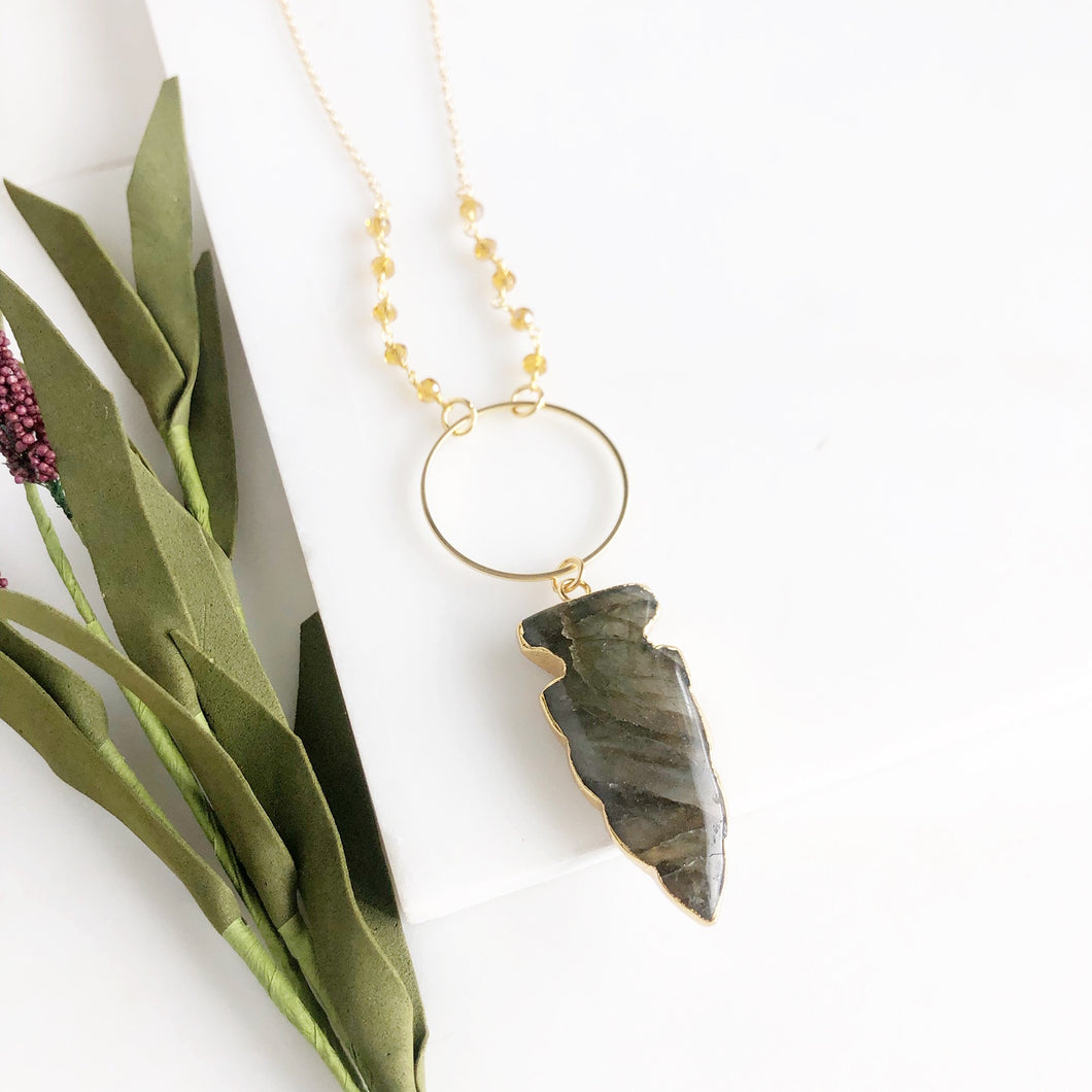 Long Gold Labradorite Arrow Necklace with Orange Accent Beading