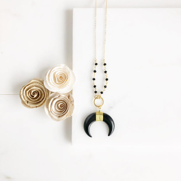 Black Crescent Necklace. Black Necklace. Long Necklace. Gold Necklace. Jewelry. Gift.