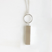 Long Stone Bar Necklaces in Silver. Long Silver Boho Necklace