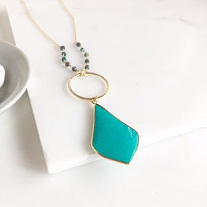 Teal Green Stone Necklace in Gold. Long Boho Kite Necklace. Holiday Necklace. Pendant Necklace.