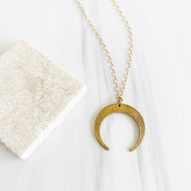 Brushed Brass Crescent Necklace in Gold. Gold Moon Necklace. Simple Pendant Necklace