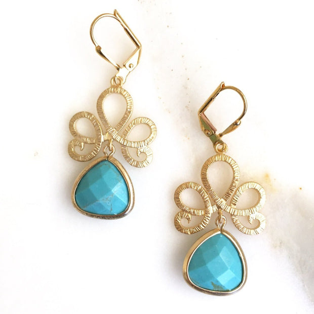 Turquoise Jewelry. Turquoise Stone Drop Earrings. Dangle Earrings. Bridesmaids Earrings. Jewelry Gift. Turquoise Drop Earrings.