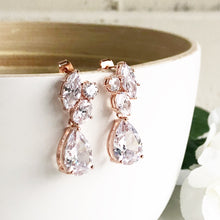 Load image into Gallery viewer, Rose gold post bridal earrings. Bridesmaid earrings. CZ rose gold bridal earrings. Wedding Earrings