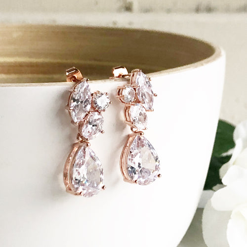 Rose gold post bridal earrings. Bridesmaid earrings. CZ rose gold bridal earrings. Wedding Earrings