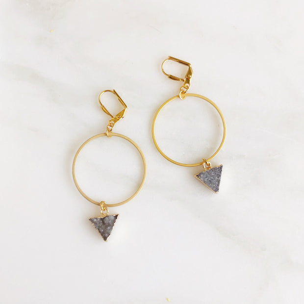 Grey Druzy Triangle Hoops. Druzy Stone Hoop Earrings