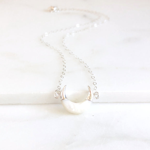 White Crescent Necklace in Silver. Moon Layering Necklace