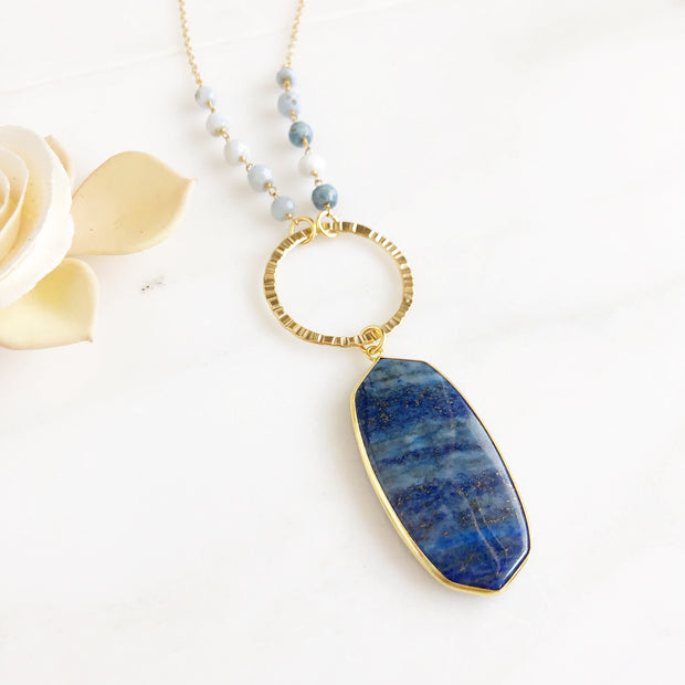 Long Blue Lapis Necklace in Gold. Bohemian Jewelry. Long Stone Pendant Necklace