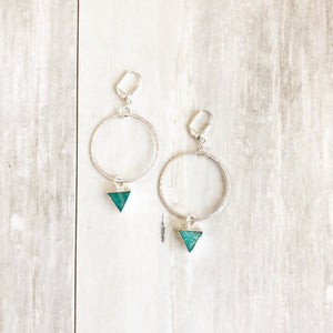 Amazonite Hoop Earrings in Silver. Hoop Earrings. Silver Hoops. Jewelry. Druzy Jewelry.