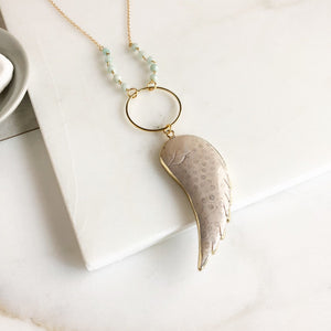 Long Wing Necklace. White Wing Necklace. Long Gold Wing Slice Necklace. Long Boho Gold Stone Necklace. Bohemian Jewerly. Gift.