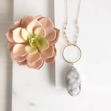 Load image into Gallery viewer, Long Necklace. White Druzy Necklace. Pendant Necklace. Unique Jewelry Gift for Her. .