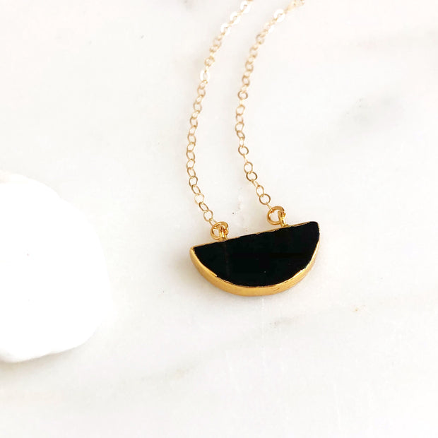 Black Crescent Moon Necklace in Gold. Black Stone Crescent Necklace