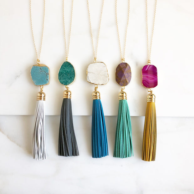 Tassel Necklace. Leather Tassel Necklace. Long Tassel Necklace. Boho Tassel Jewelry. Gold Necklace.