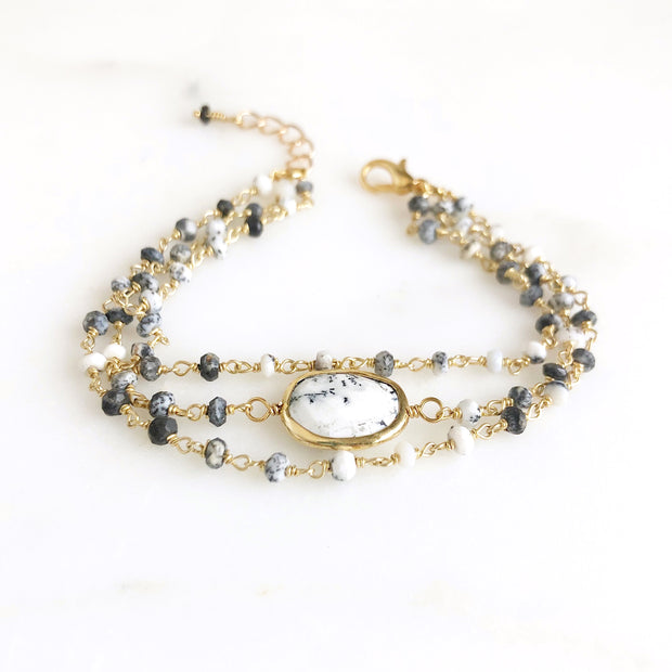 Triple Strand Dendrite Opal Gemstone Beaded Bracelet in Gold